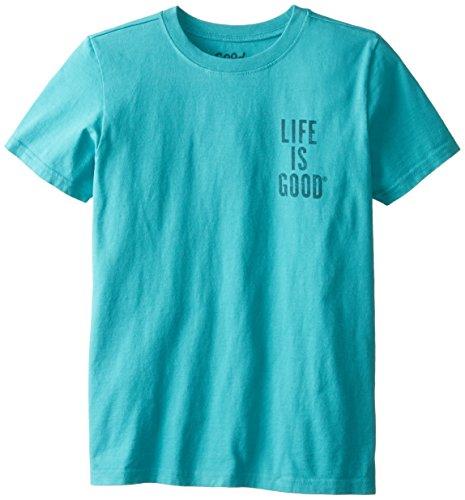 Life is good Boy's Easy Take a Walk Bear Tee, Teal Blue, Medium