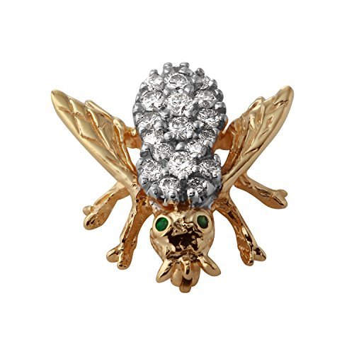 1.05 Carat Natural Diamond Emerald 14K Yellow Gold Brooch for (14k Gemstone Brooch)