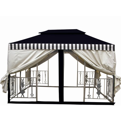 DC America GO29639DS-DBBC 11.5 ft. X 11.5 ft. Two Tier Gazebo -Desert Stone