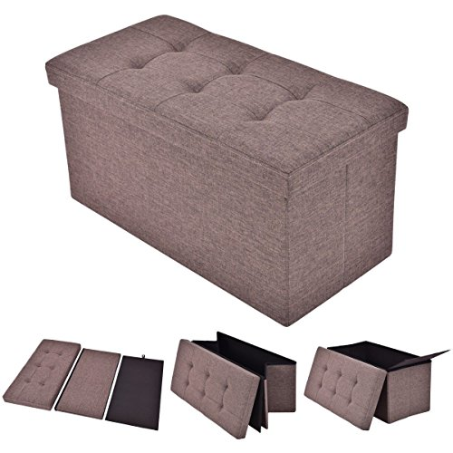 Folding Rect Ottoman Bench Storage Stool Box Footrest Furniture Decor Brown New (Argos Rattan Garden Furniture Set)