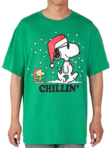 Peanuts Mens T-Shirt Snoopy Woodstock Chillin' Christmas Holiday Print (Christmas Snoopy)