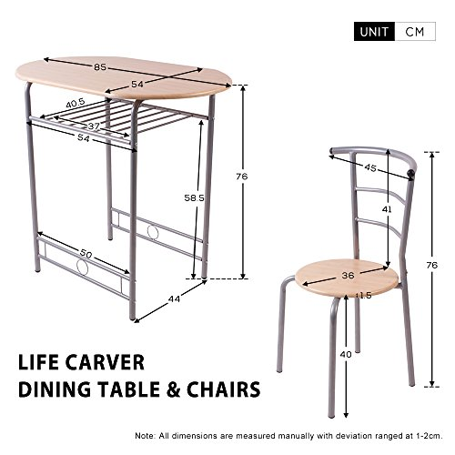 Life Carver Compact Dining Table And 2 Chairs Set Beech Home Kitchen Dinning Room Furniture Amazoncouk