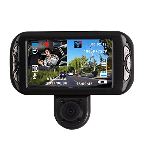 BLUEPUPILE Dual Dash Cam with GPS,3.0 inch Dual Camera .1080P for Taxi driver with SOS Loop Recording,HDR, Gravity sensor,Support 64G