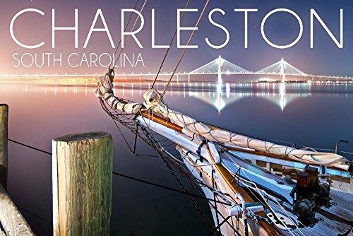 Arthur Ravenel Bridge (Charleston, South Carolina - Sailboat and Arthur Ravenel Jr. Bridge (9x12 Collectible Art Print, Wall Decor Travel Poster))