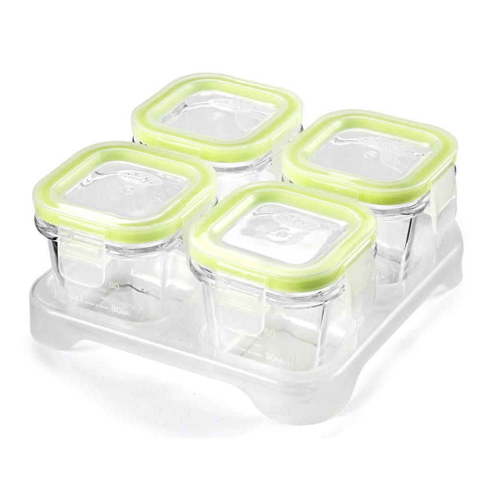 Matyz Glass Baby Food Storage Containers with Airtight Lids & Stackable Tray - 3 Ounce Small Freezable Toddler Solid Food Container for Easily Portion - Microwave Freezer Safe (Set of 4, Green)