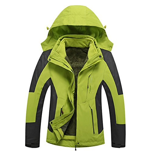 Modern Fantasy Womenss Detachable Hooded 3 in 1 Convertible Fleece Outdoor Jacket Size US Green S