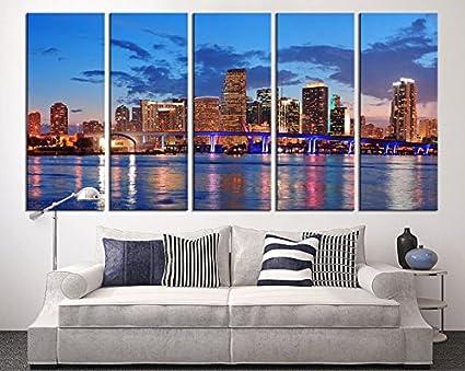 Amazon.com: Miami Large Wall Art Canvas Print, Miami Skyline Wall ...