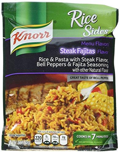 Knorr, Rice Sides, Flavor, 5.3oz Pouch (Pack of 6) (Choose Flavors Below) (Menu Flavors Steak Fajita Rice)
