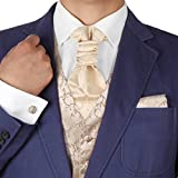 beige Pattern Formal Vest for Men Gift Idea with Match Tuxedo Vests ,cufflinks, hanky and Ascot Tie for Suit Y&G VS2031-L Large Beige