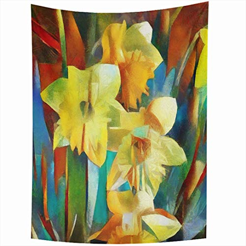 Ahawoso Tapestry 60x90 Inch Dynamic Nouveau Floral Daffodils Made Cubism Abstract Watercolor Artist Brush Bud Design Wall Hanging Home Decor for Living Room Bedroom Dorm ()