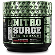 NITROSURGE Pre Workout Supplement - Energy Booster, Instant Strength Gains, Clear Focus, Intense Pumps - Nitric Oxide Booster & Powerful Preworkout Energy Powder - 30 Servings, Cherry Limeade