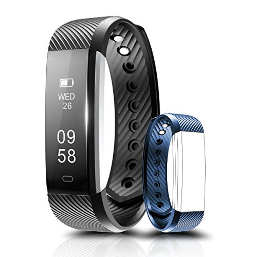 Fitness Tracker - Coffea C2 Activity Wristband : Bluetooth Wireless Smart Bracelet - Waterproof Pedometer Activity Tracker Watch with Replacement Band for IOS & Android Smartphone (Black+Blue strap)