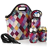 Tabkoe™ Neoprene Lunch Bag Set: Extra Big & Thick Insulated Tote + Shoulder