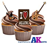 AKGifts Bass Guitar Edible Stand-up Cupcake Toppers (pack of 12)