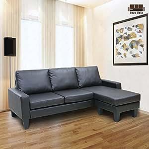 Amazon Com Reversible Corner Sectional Sofa Leather