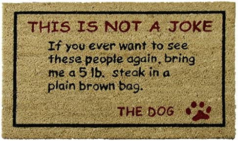 Rubber-Cal 10-106-026 Bring a 5 lbs. Steak Dog Door Mat, 18 x 30