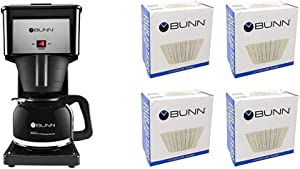 BUNN GRB Velocity Brew 10-Cup Home Coffee Brewer, Black & BCF100 BCF100-B 100-Count Basket Filter (Pack Of 4),White, 4