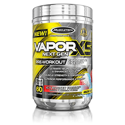 MuscleTech Vapor X5 Next Gen Pre Workout Powder, Explosive Energy Supplement, Icy Rocket Freeze, 60 Servings,27.2 Ounce, Pack of 1