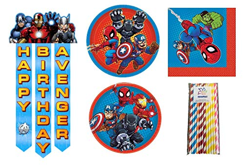 Marvel Superhero Adventures Birthday Party Supplies Pack for 16 Guests - Dinner & Dessert Plates, Napkins, an Avenger Happy Birthday Banner and ElevenPlus2 Paper Straws