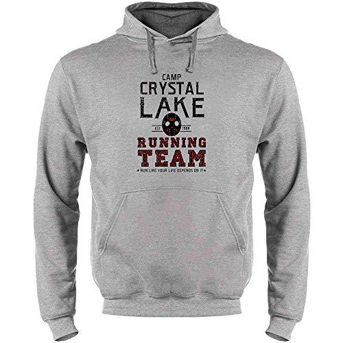(Pop Threads Camp Crystal Lake Running Team Costume Horror Heather Gray 3XL Mens Fleece Hoodie)
