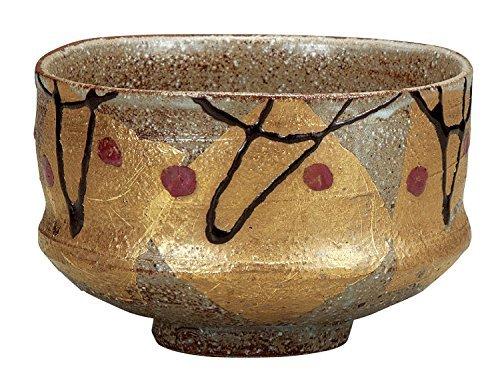 Kutani Yaki Gold Leaf Pottery 4.3inch Matcha Bowl by Watou.asia