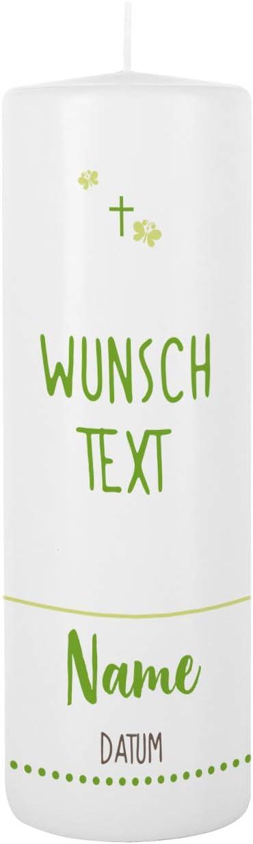 Blau Striefchen/® Taufkerze 250//80 mm mit Lebensbaum und Aufdruck des Namen und Datum sowie Taufspruch Wei/ß