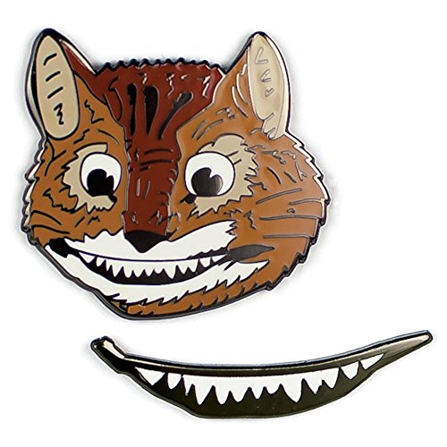 Cheshire Cat and Smile Enamel Pin Set - 2 Unique Colored Metal Lapel Pins ()