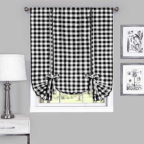 Designer Home Window Panel Curtain Checkered Kitchen Drape Tie-Up Shade Plaid Gingham Check Black 42