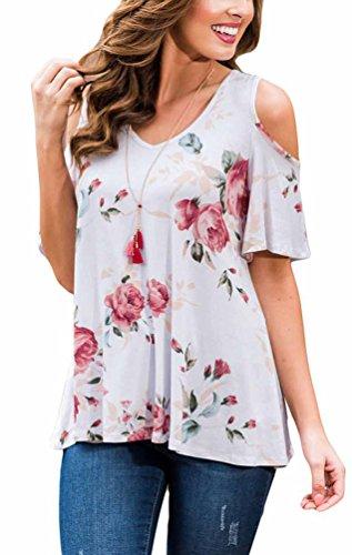 Eachever Women Floral Print Cut Out Cold Shoulder Short Sleeve Blouse Tops White Xxl Us18 20