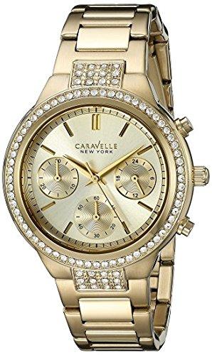 (Caravelle New York Women's 44L179  Swarovski Crystal  Gold Tone Watch )