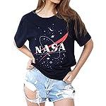 WLLW Women NASA Shirt Short Sleeve Graphic Tees Space T-Shirt