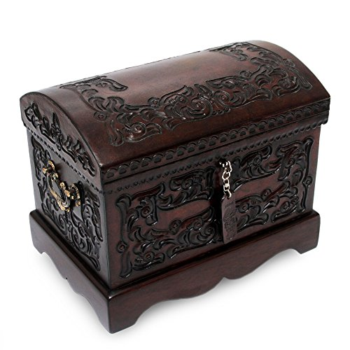Bronze Mystique Art (NOVICA Colonial Wood and Tooled Leather Jewelry Box, Brown 'Colonial Mystique')