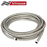 25 Ft 6AN AN6 (3/8'') Universal Braided Stainless Steel CPE Oil Fuel Gas Line Hose