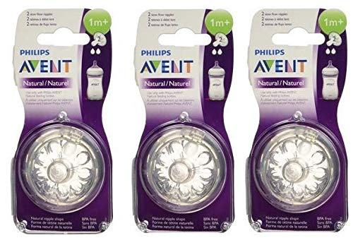 Philips Avent Natural Nipple Slow Flow - 6 - Avent Slow Nipple Flow