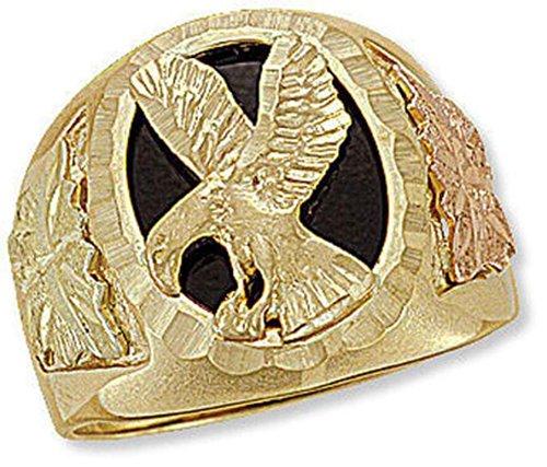 (Landstroms Mens 10k Black Hills Gold Eagle Ring with Onyx - G L02402)
