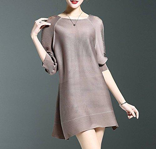 Xiang Ru Femmes Occasionnels Mini-coton Été Robe Chemisier Col Ras Du Cou T-shirt Marron