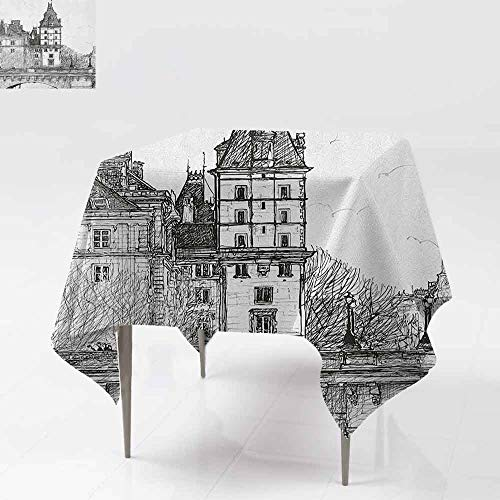 AndyTours Square Tablecloth,Paris,View from The Pont Neuf Historical French Landmark Urban Architecture Drawing,for Events Party Restaurant Dining Table Cover,50x50 Inch Black and -