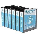 "Easyview® Premium, Round Ring, Customizable, View Binder, 6 Pack (Black, 2"")"