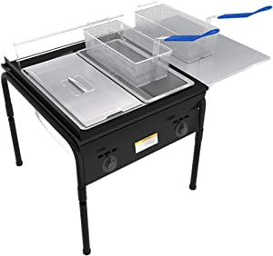 Lodhi's Heavy Duty Taco Cart Two Tank Double Deep Fryer Compatible with Propane Gas Tanks, with 2 Baskets & Stainless Steel Oil Tank