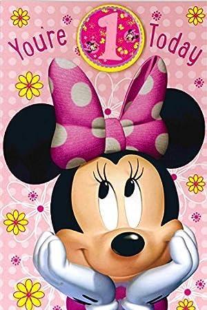 Carlton Disneys Minnie Mouse 1st Birthday Card 418906 Amazon