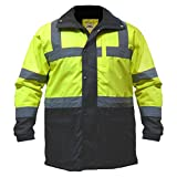 Utility Pro UHV1004 Nylon Quilted Lining High-Vis Contractor Parka Jacket with Dupont Teflon fabric protector,  Lime/Black,  X-Large