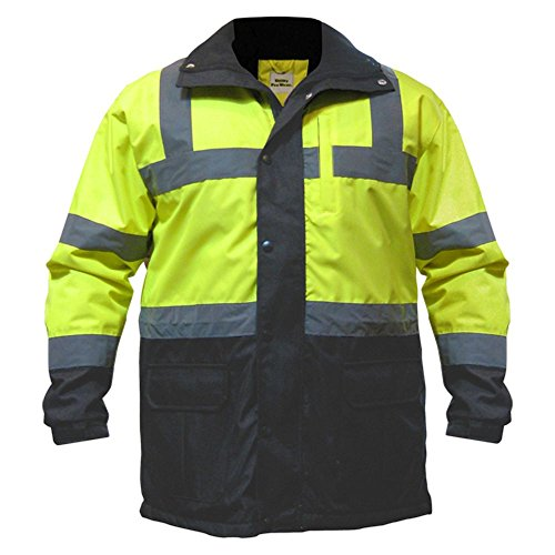 (Utility Pro UHV1004 Nylon Quilted Lining High-Vis Contractor Parka Jacket with Dupont Teflon fabric protector,  Lime/Black,  X-Large)