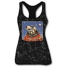RETHYJU Soviet Space Dog Women's Summer Casual Vest Workout T Shirt Sleeveless - Racerback Tank Tops for Womens