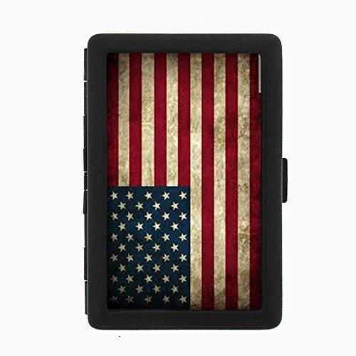 Vintage American Flag D1 Black Metal Cigarette Case Patriotic Freedom American Heroes ()