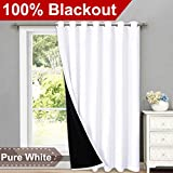 """curtains for sliding glass doors  Full Shading Curtains for Patio Door, Super Heavy-Duty Thermal Backing Sliding Glass Door Drape with Silver Grommet, Privacy Assured Window Treatment(1 Panel, 100"""" W x 84"""" L, Pure White)"""