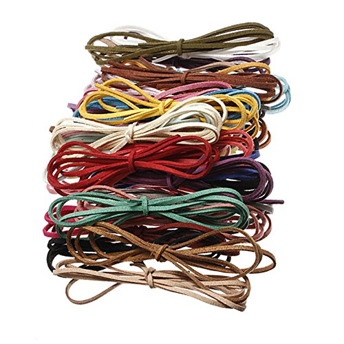 Necklace Cord Suede (10 Pcs Multicolor 3mm Faux Leather Cord Suede Lace 100cm DIY Bracelets Necklace Making Cord String Rope)