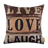 LINKWELL 18x18 inches Vintage Words Live Love Laugh Burlap Throw Pillowcase Cushion Cover (CC1290)