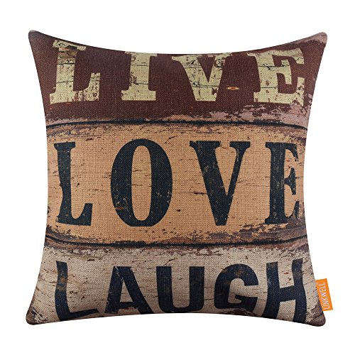 LINKWELL 18x18 inches Vintage Words Live Love Laugh Burlap Throw Pillowcase Cushion Cover (CC1290) (Word Yellow Signs)
