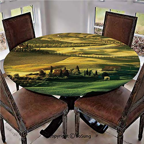 - Elastic Edged Polyester Fitted Table Cover,Peaceful Landscape of Pienza Tuscany Vineyard Trees Meadow Hill Ancient House,Fits up to 36