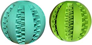 ATITOWEL 2 Pack Dog Toy Balls for Pet Tooth Cleaning/Chewing/Playing Rubber Ball Molar Toys 4 Style